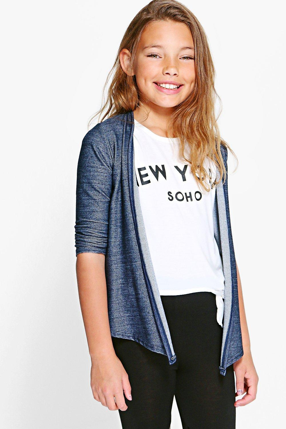 Girls Denim Look Cardigan