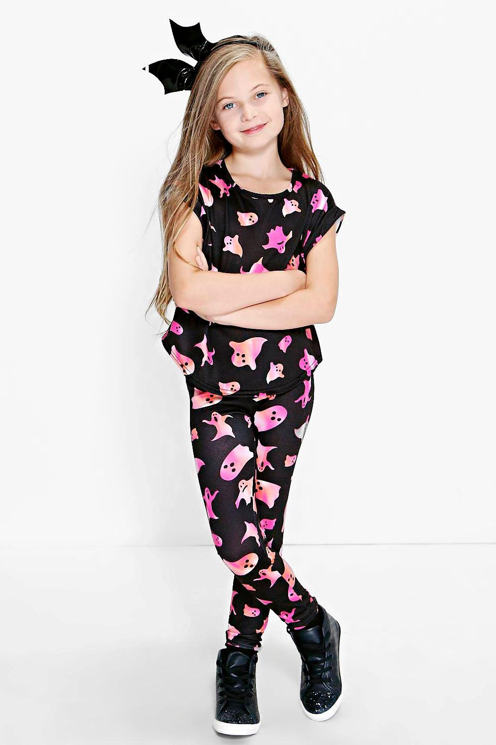 Girls Ghost Print Tee & Leggings Set