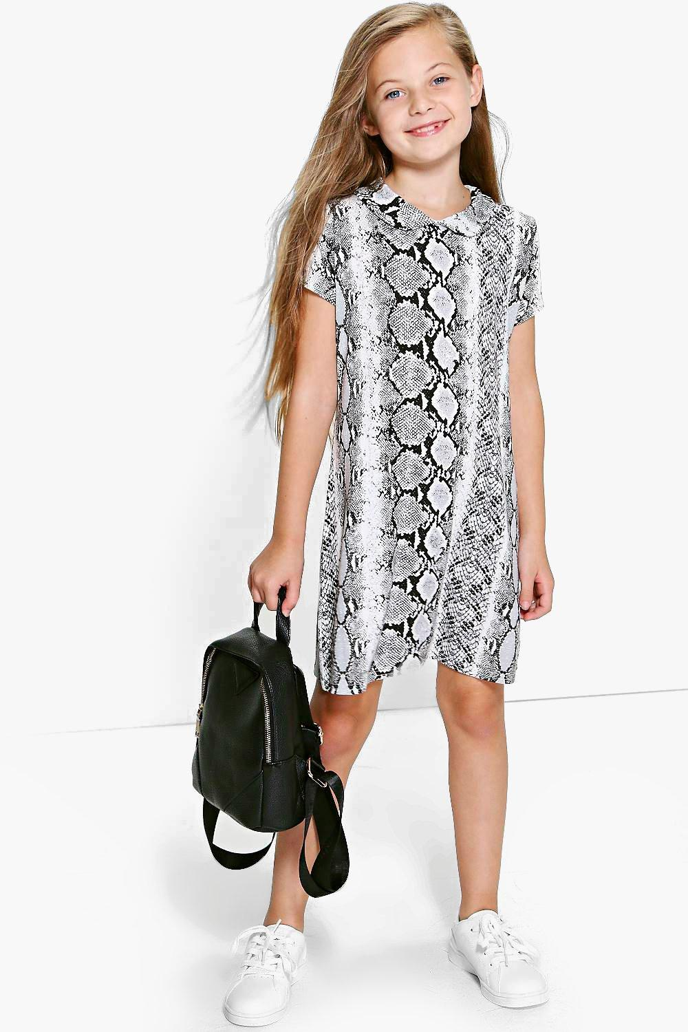 Girls Metallic Snake Print Shift Dress at boohoo.com