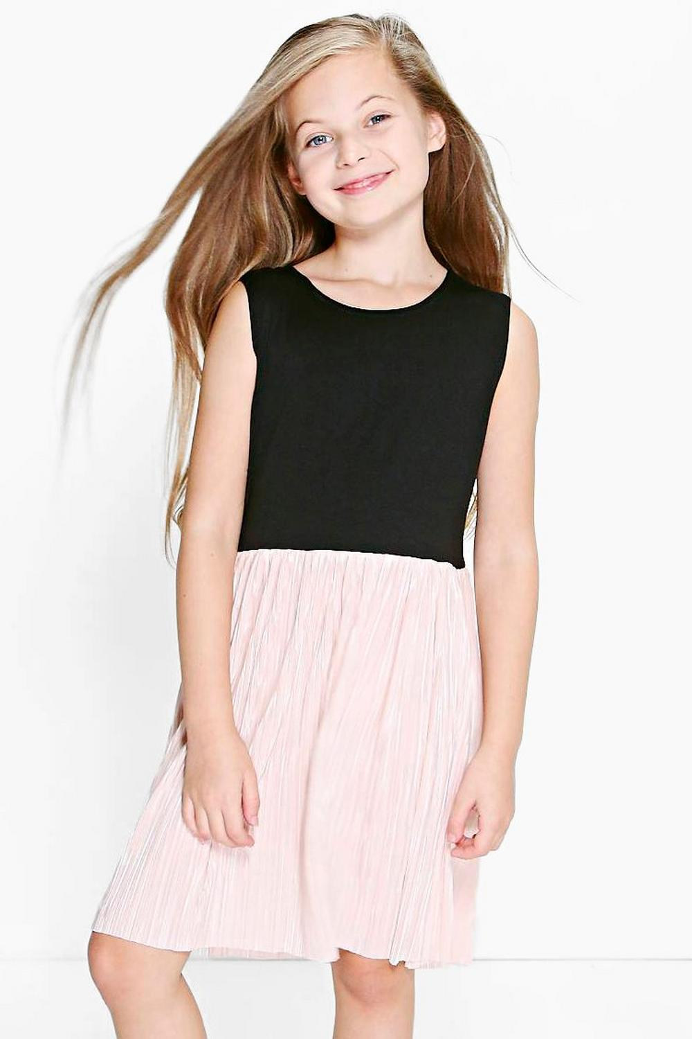 Girls Crinkle Metallic Skater Dress