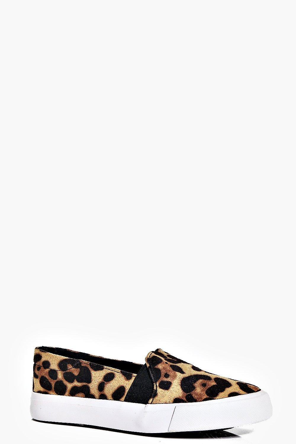 Girls Leopard Print Skater Slip On Trainers