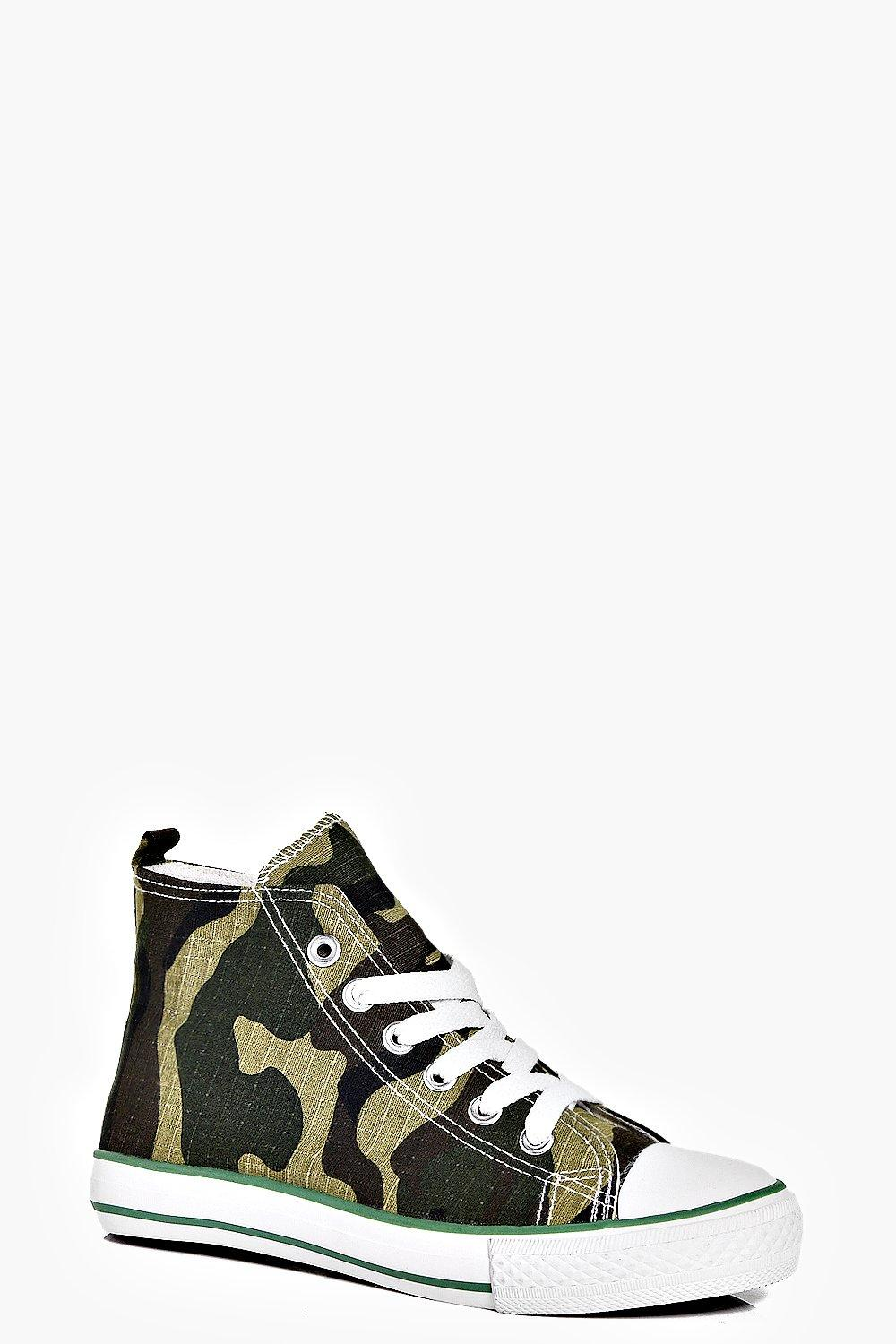 Boys Lace Up Camo High Top Trainers
