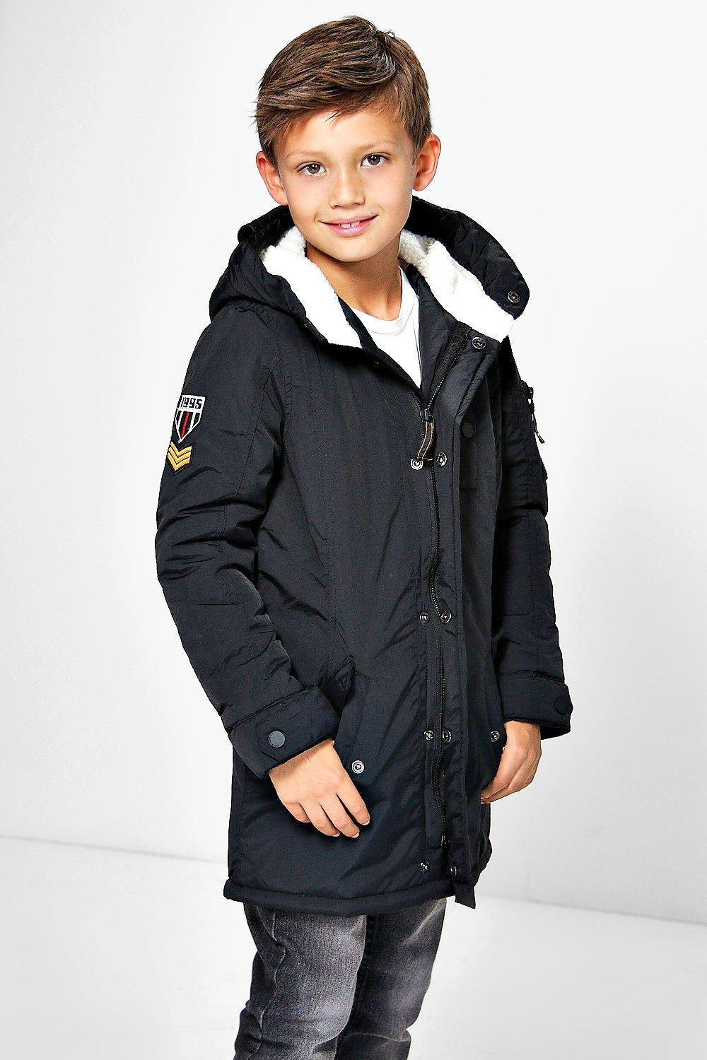 Boys Padded Badge Detail Winter Coat