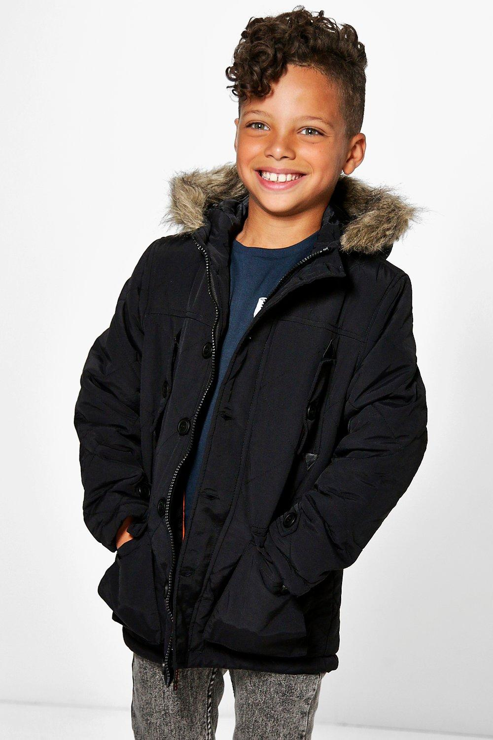 Boys Diamond Stitch Faux Fur Hooded Winter Coat