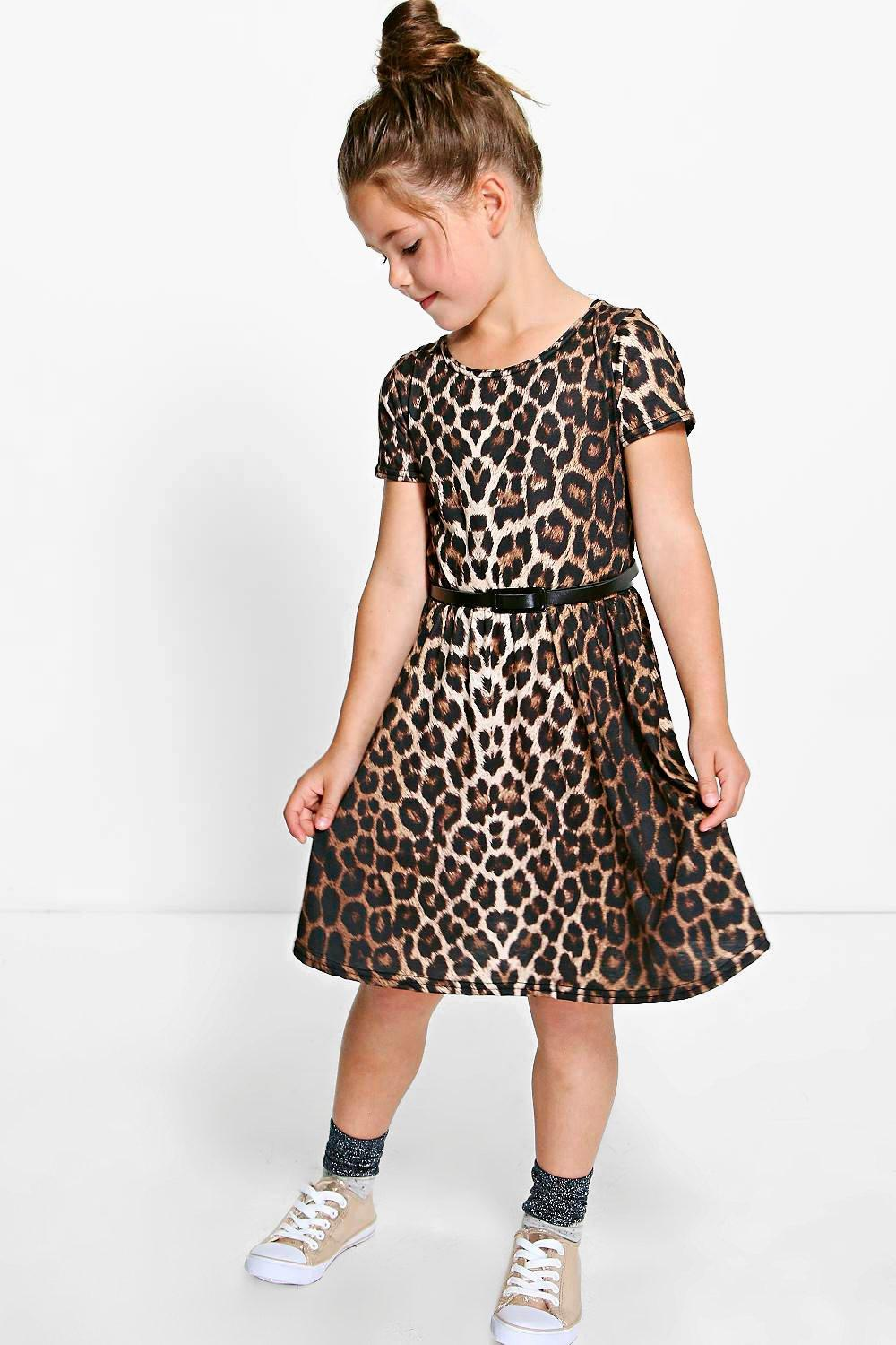 Girls Leopard Print Belted Skater Dress