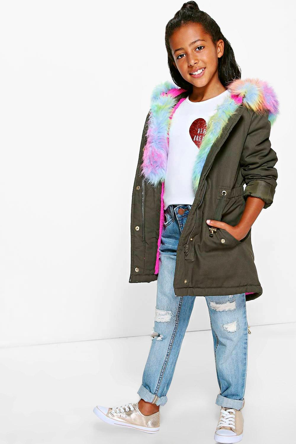 Girls Padded Parka With Faux Fur Hood