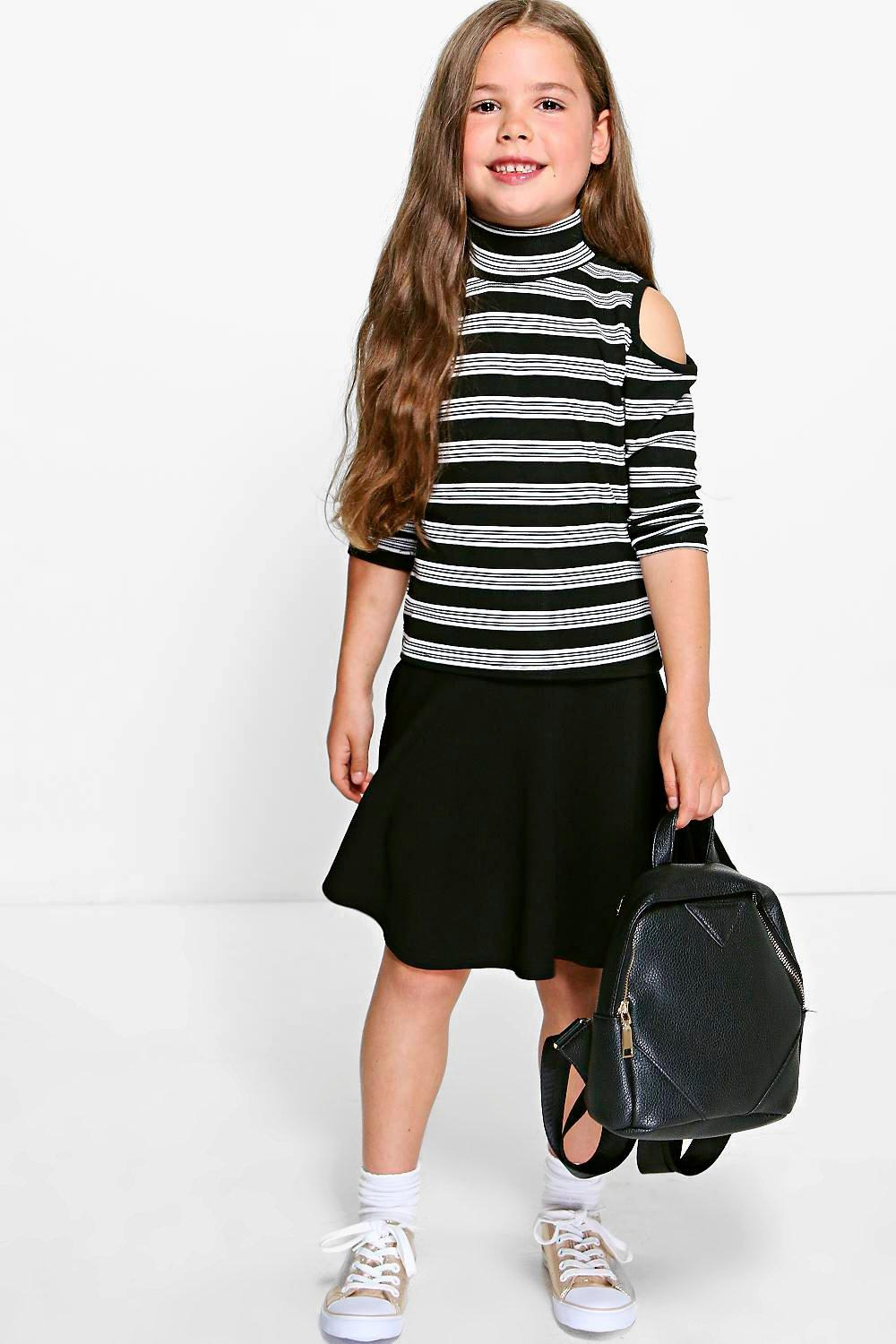 Girls Ribbed Stripe Cold Shoulder Top