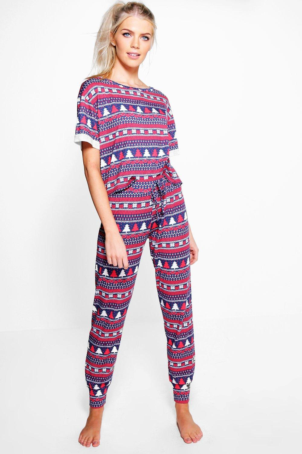 Amy Fairisle Print Roll Sleeve Tee And Jogger Set