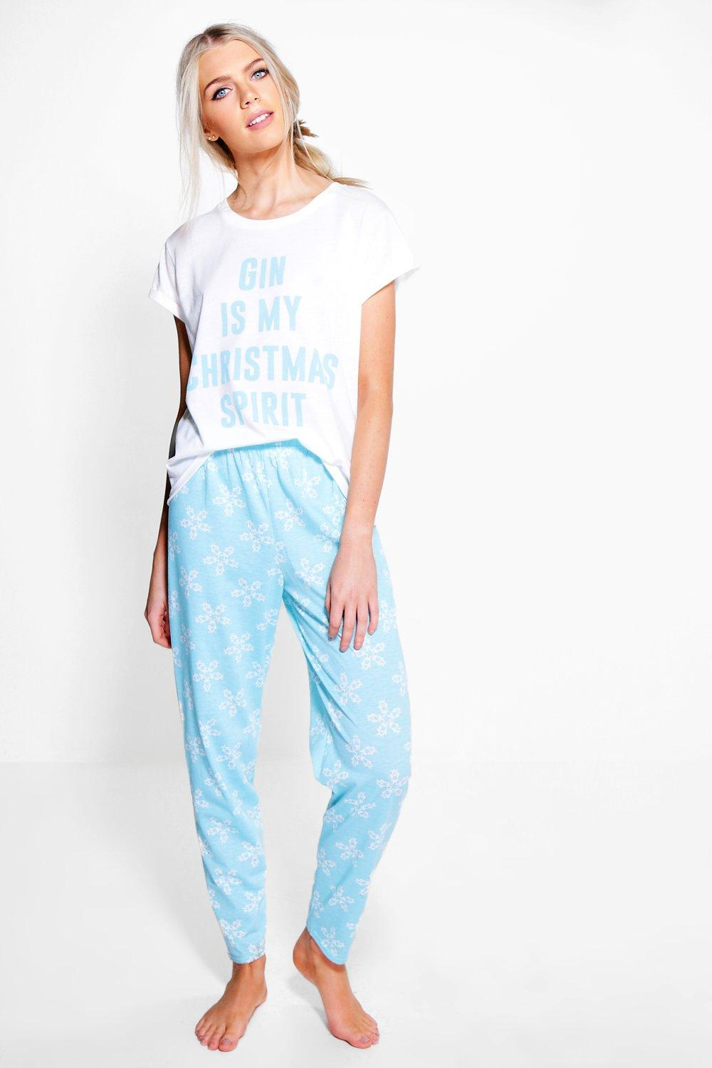 Christmas GIN Slogan Print Shorts PJ Set