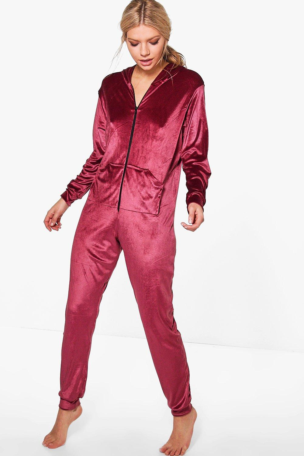 Rosie Velvet Pocket Front Zip Through Onesie