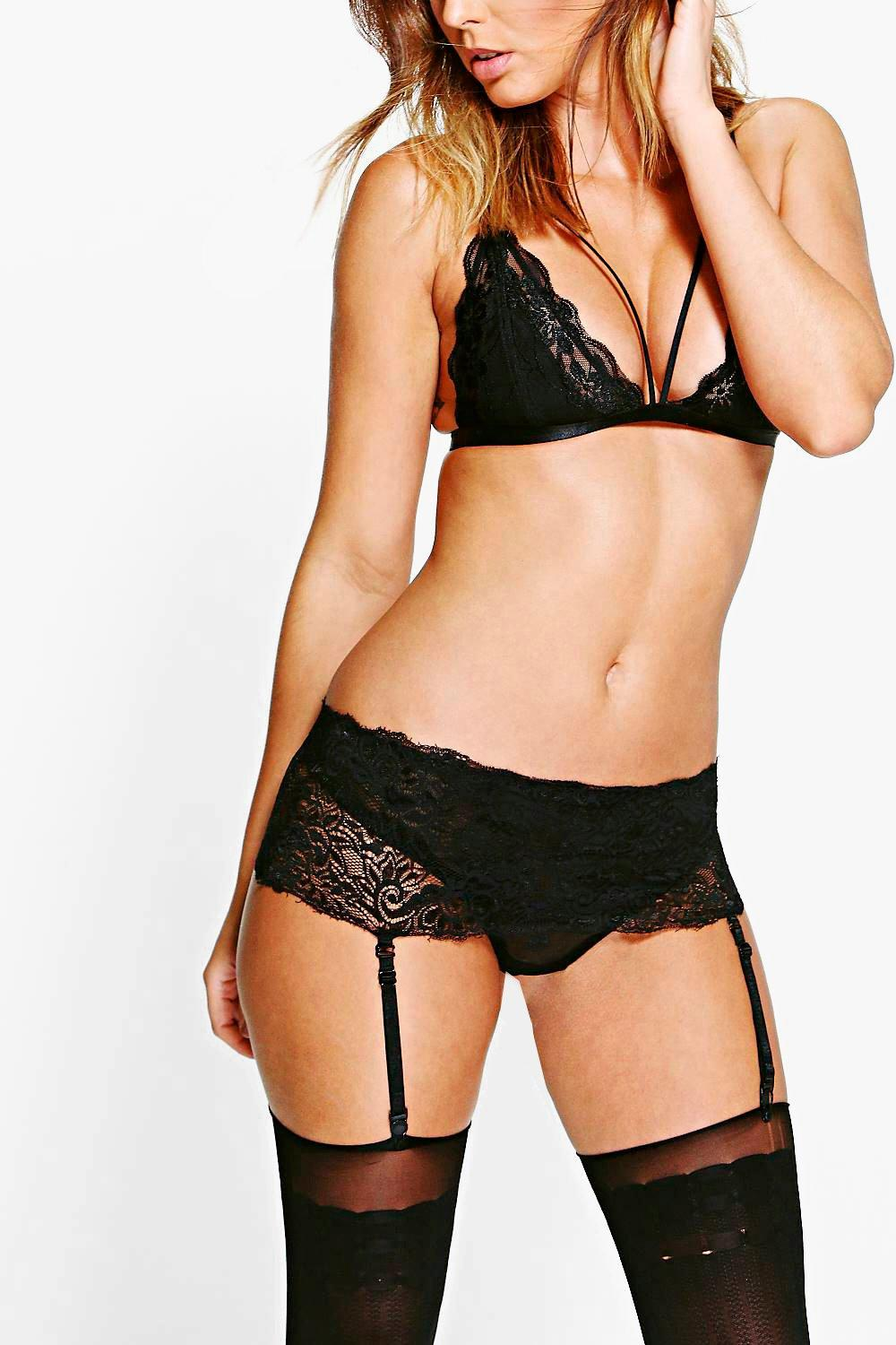 Eva Lace Trim Brief With Removable Suspender Straps