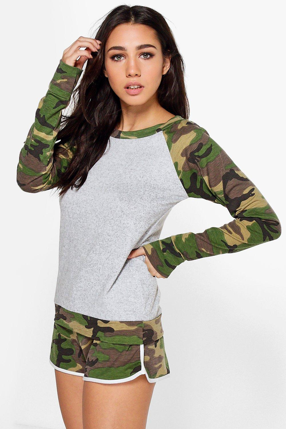 Lillie Camo Raglan Sleeve Knitted Short Lounge Set
