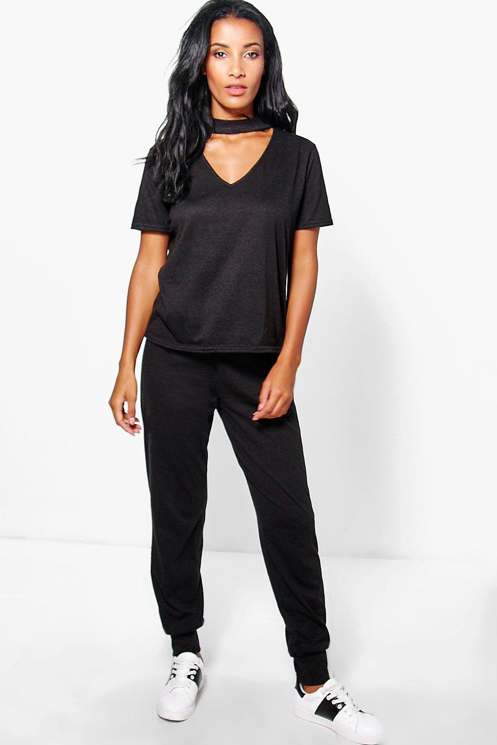 Mollie Choker Short Sleeve Tee And Jogger Set