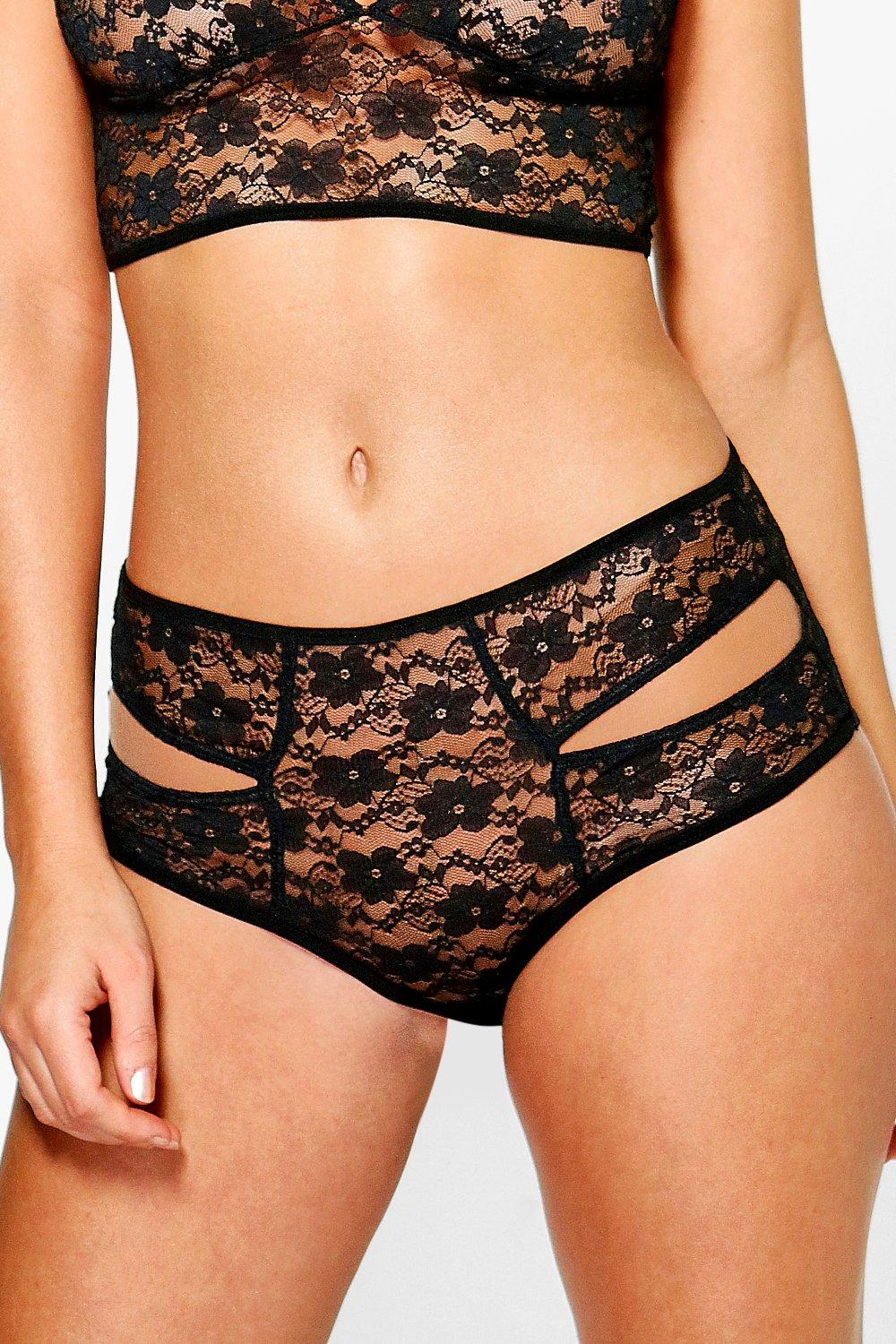 Vanessa Black Lace Cut Out High Waist Brief
