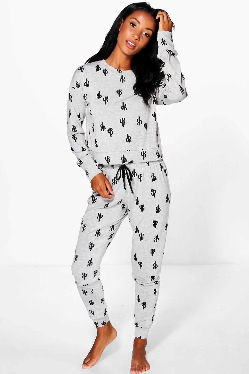 Ava Long Sleeve Top And Jogger Cactus Print Set