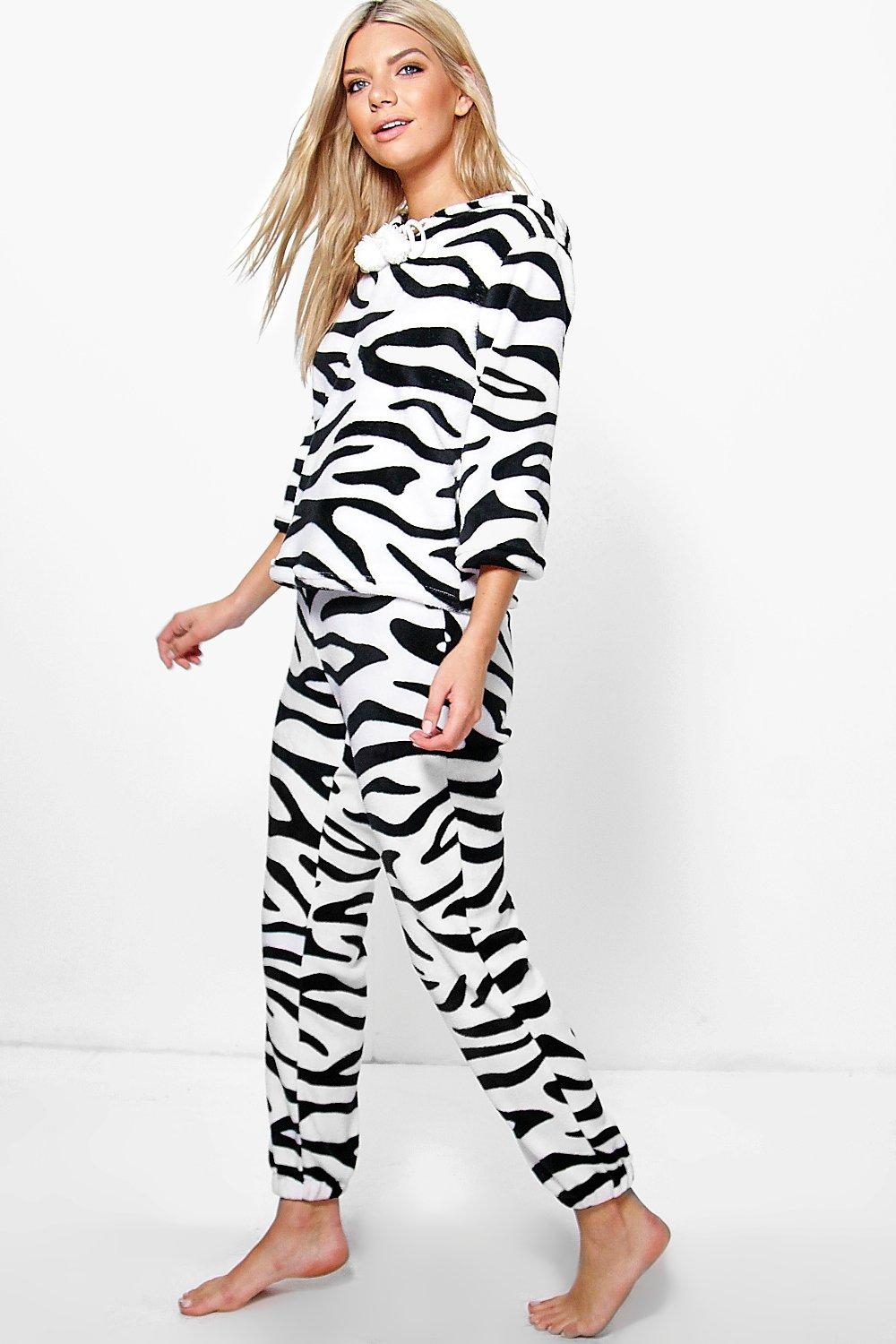 Ella Zebra Print Plush Hooded Twosie Set