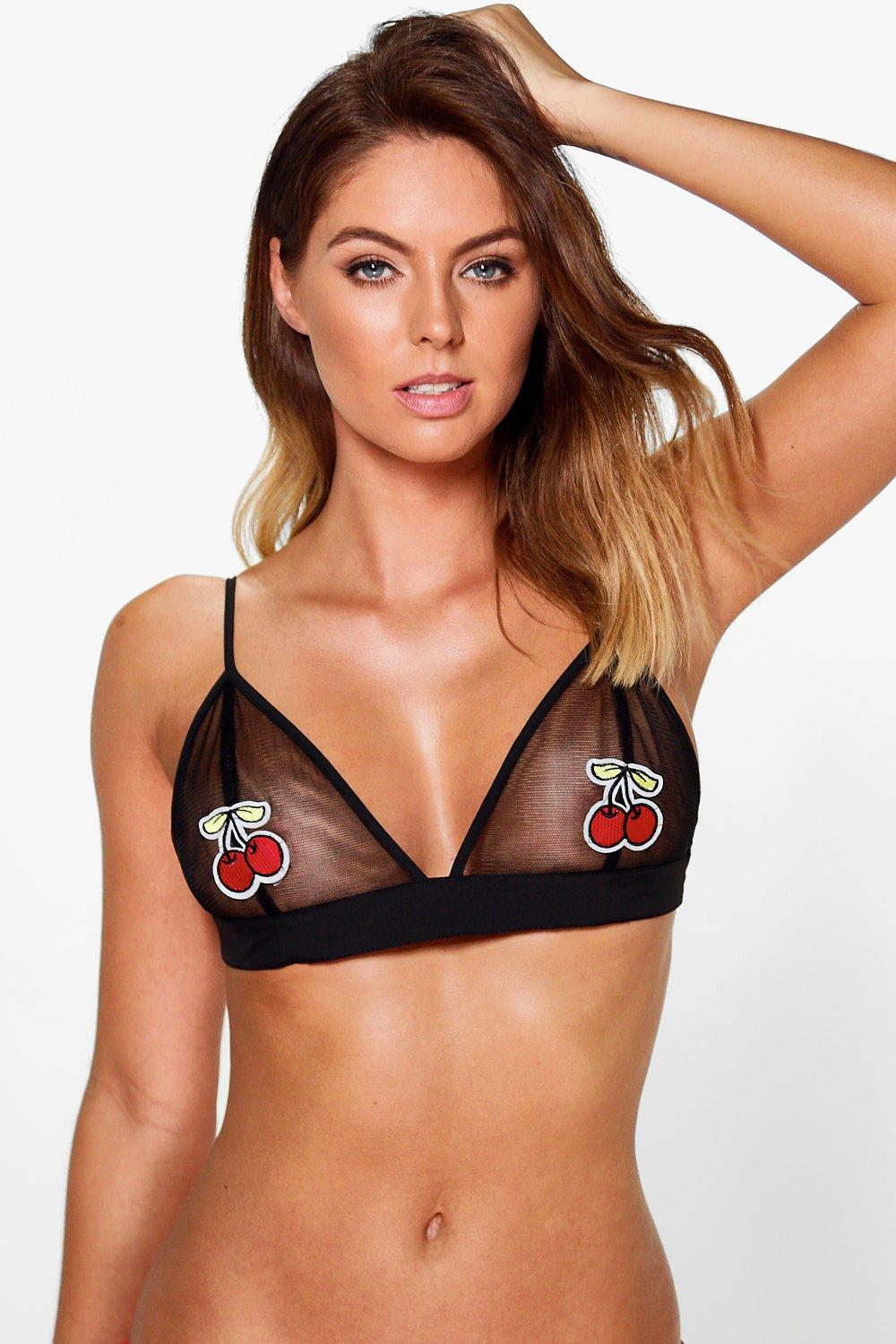 Abigail Cherry Applique Mesh Bralet