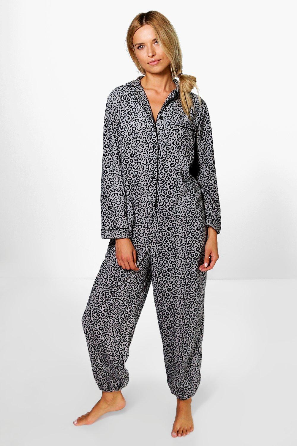 Lucy Leopard Print Collar Button Through Onesie