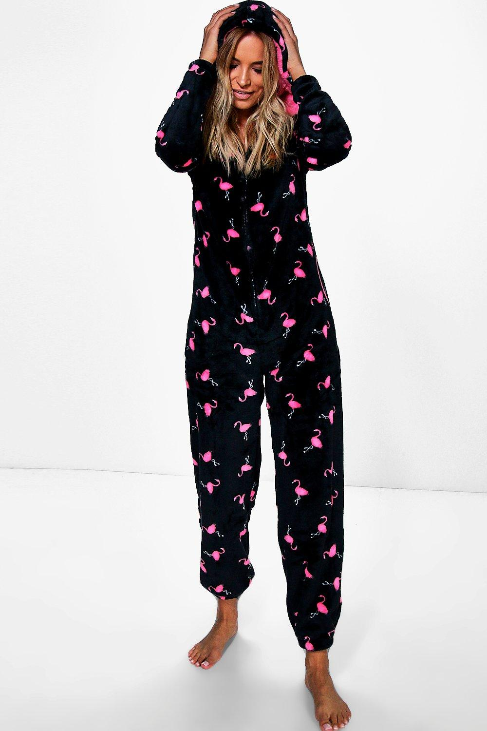 Darcy Flamingo Print Zip Through Fleece Onesie