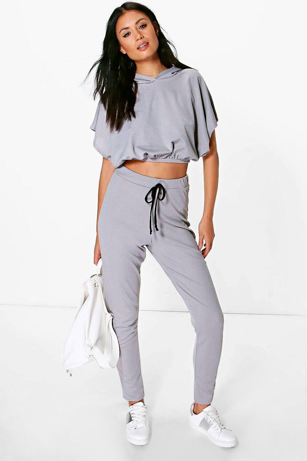 Eva Hooded Elastic Crop And Jogger Lounge Set