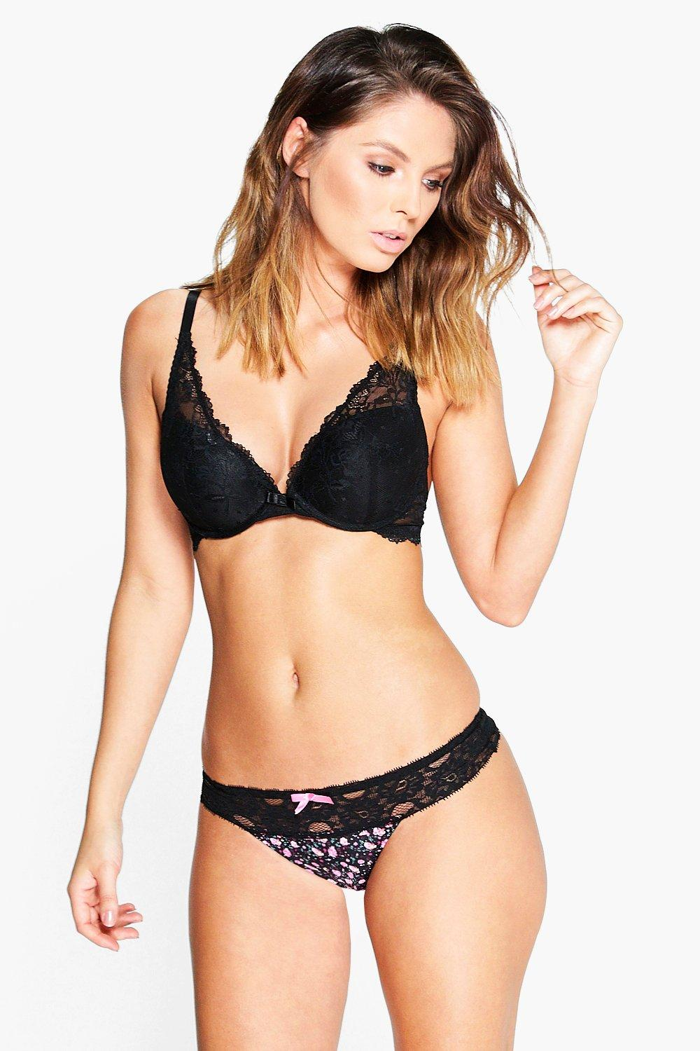 Molly Printed Lace Trim Thong