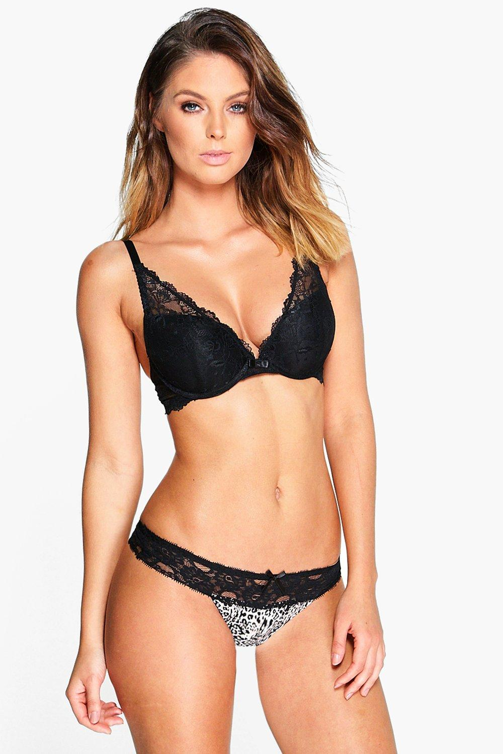 Isabella Printed Lace Trim Thong