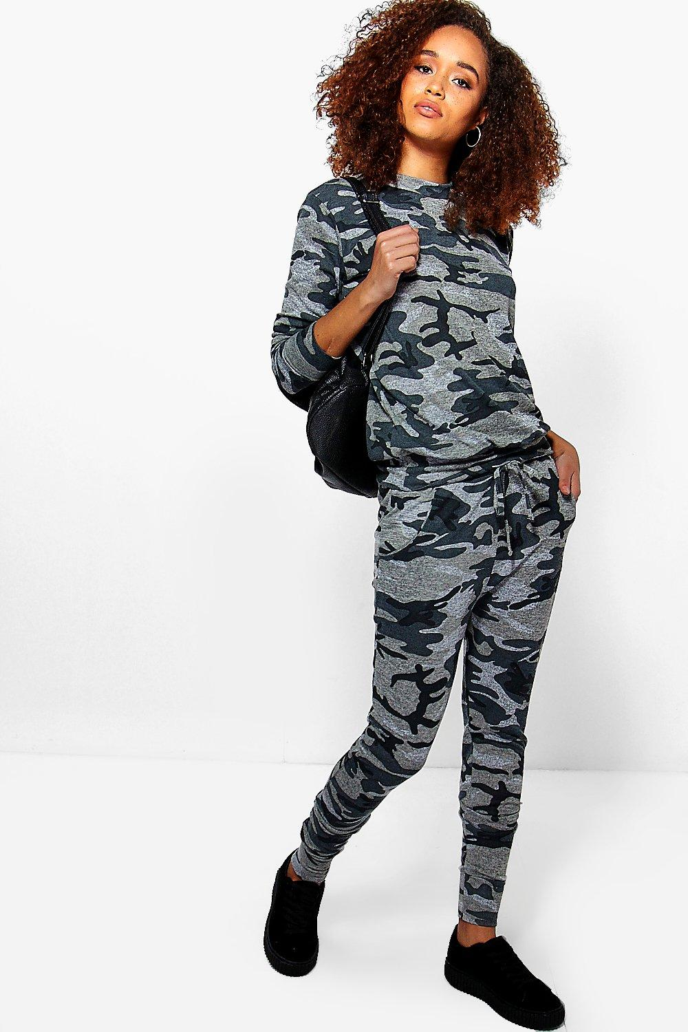 Grey Camo Lounge Top And Jogger Set