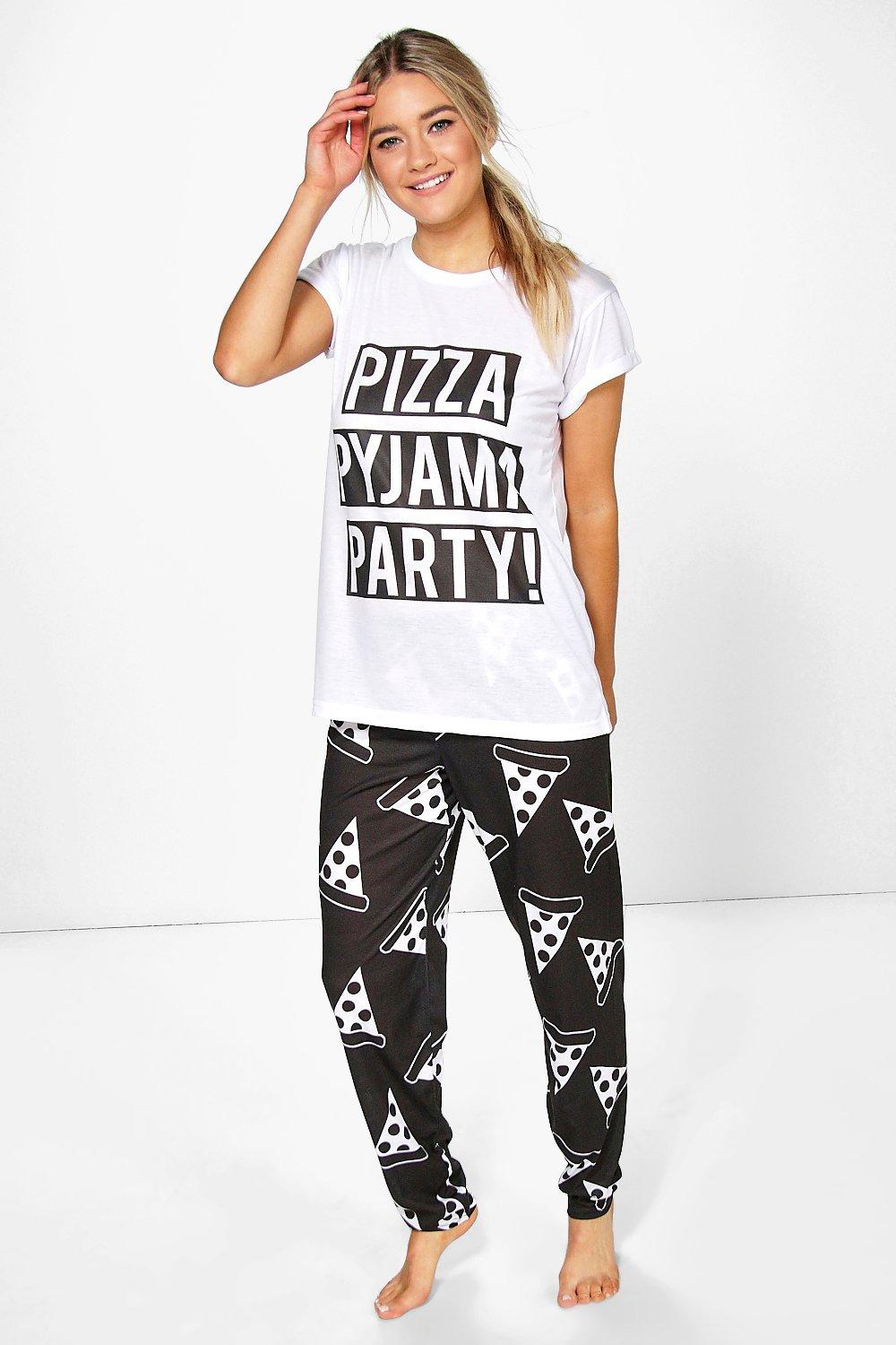 Lola Pizza Slogan Print PJ Trouser Set