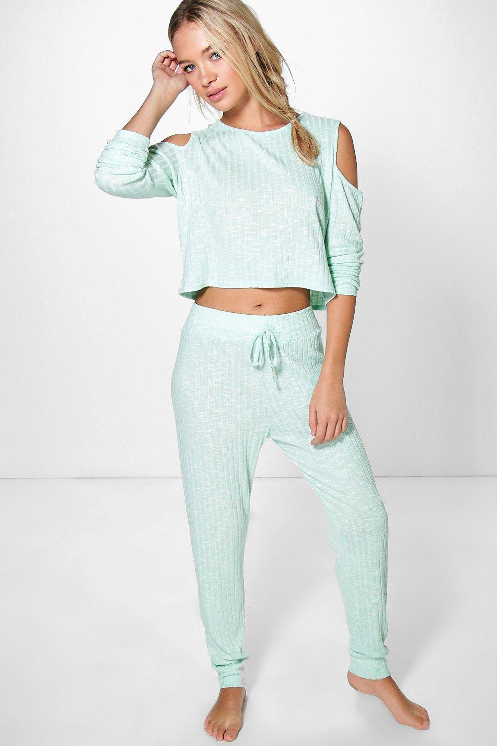 Zoe Rib Knit Cold Shoulder And Jogger Loungewear Set