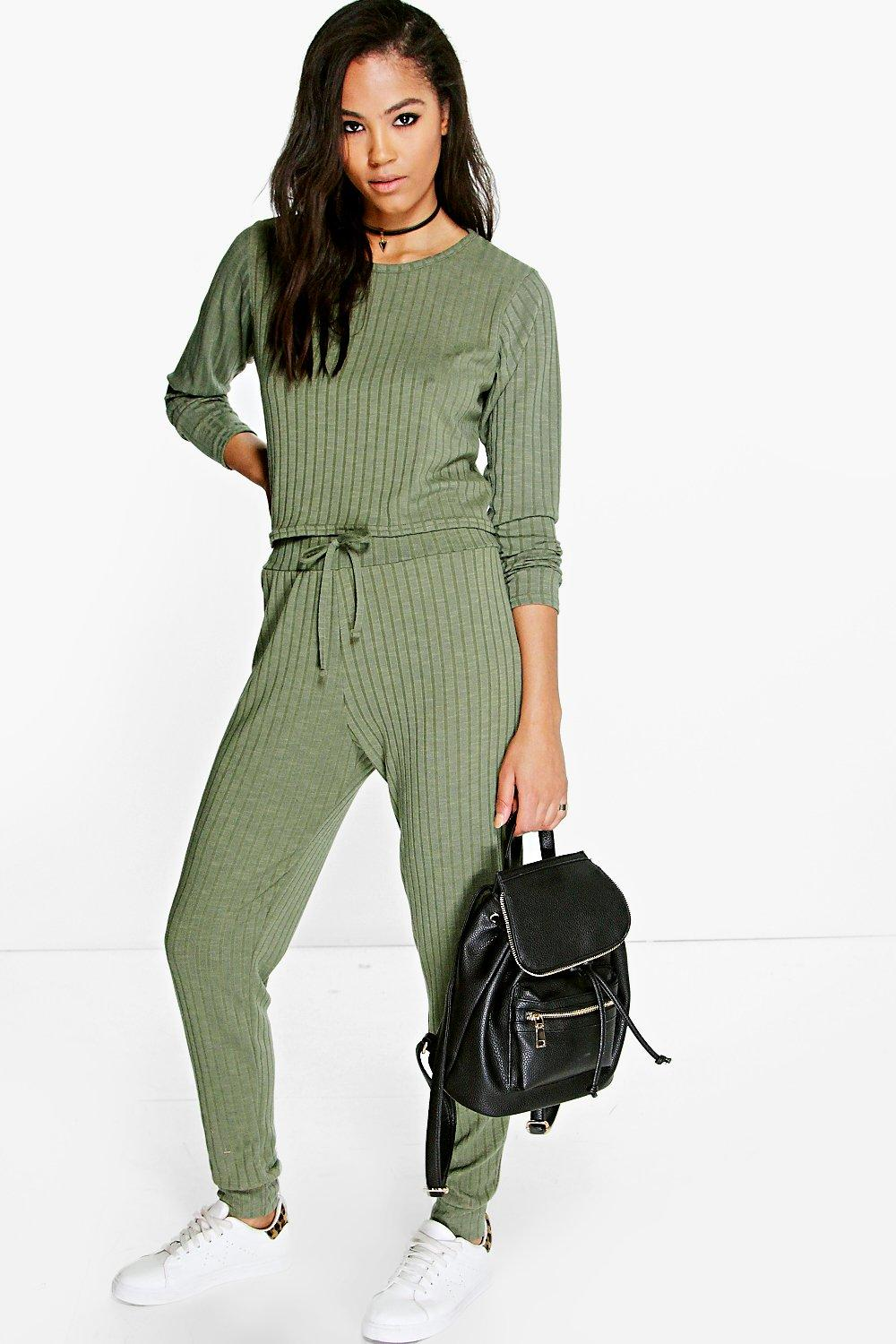 Eve Rib Knit Long Sleeve And Jogger Loungewear Set