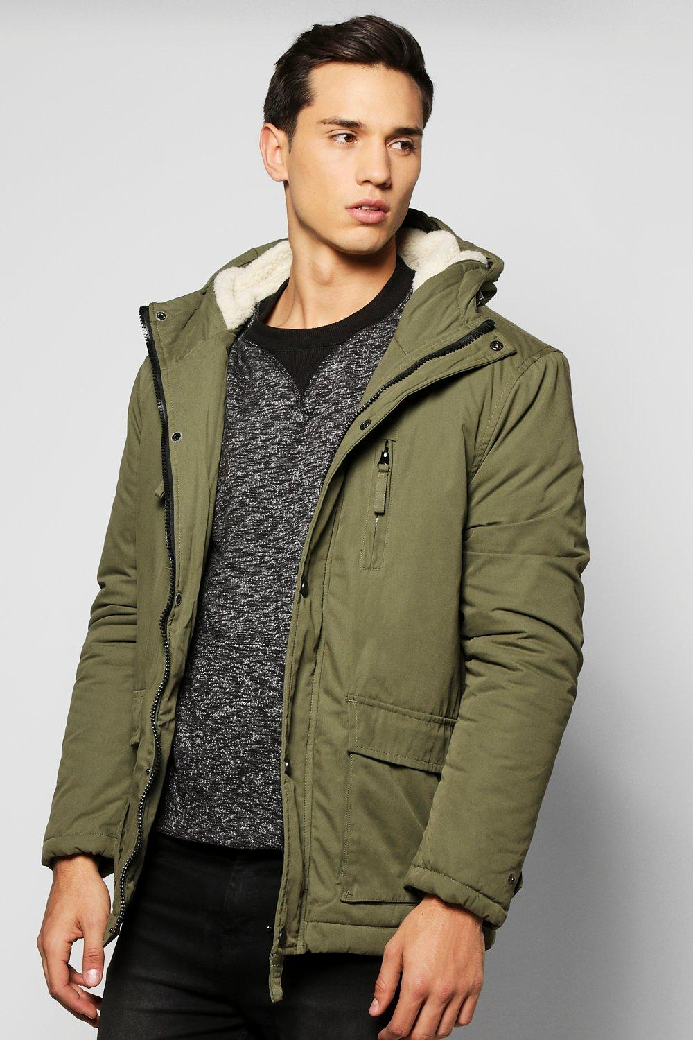 Borg Lined Double Pocket Parka