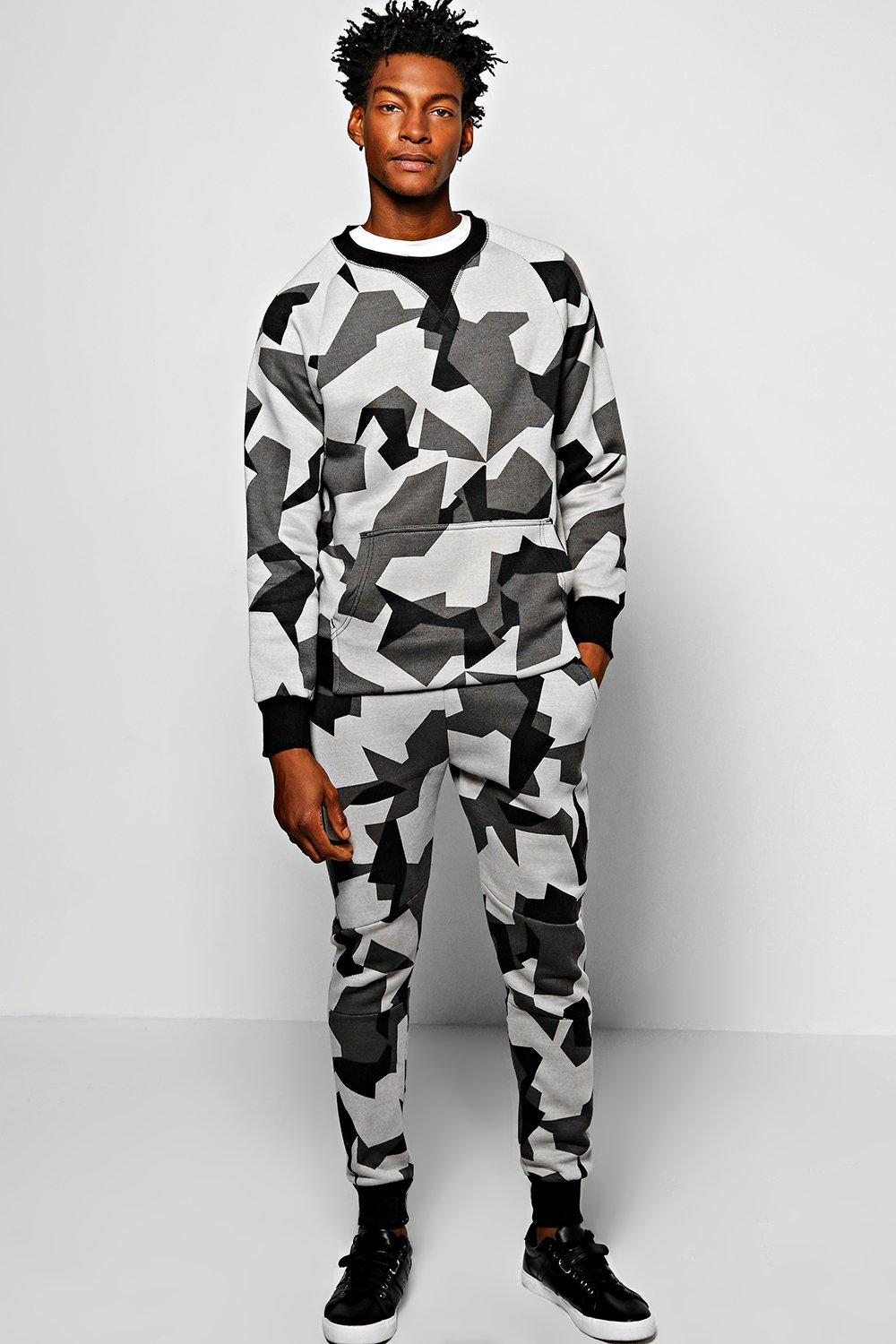 Skinny Fit Geo Camo Sweat Tracksuit