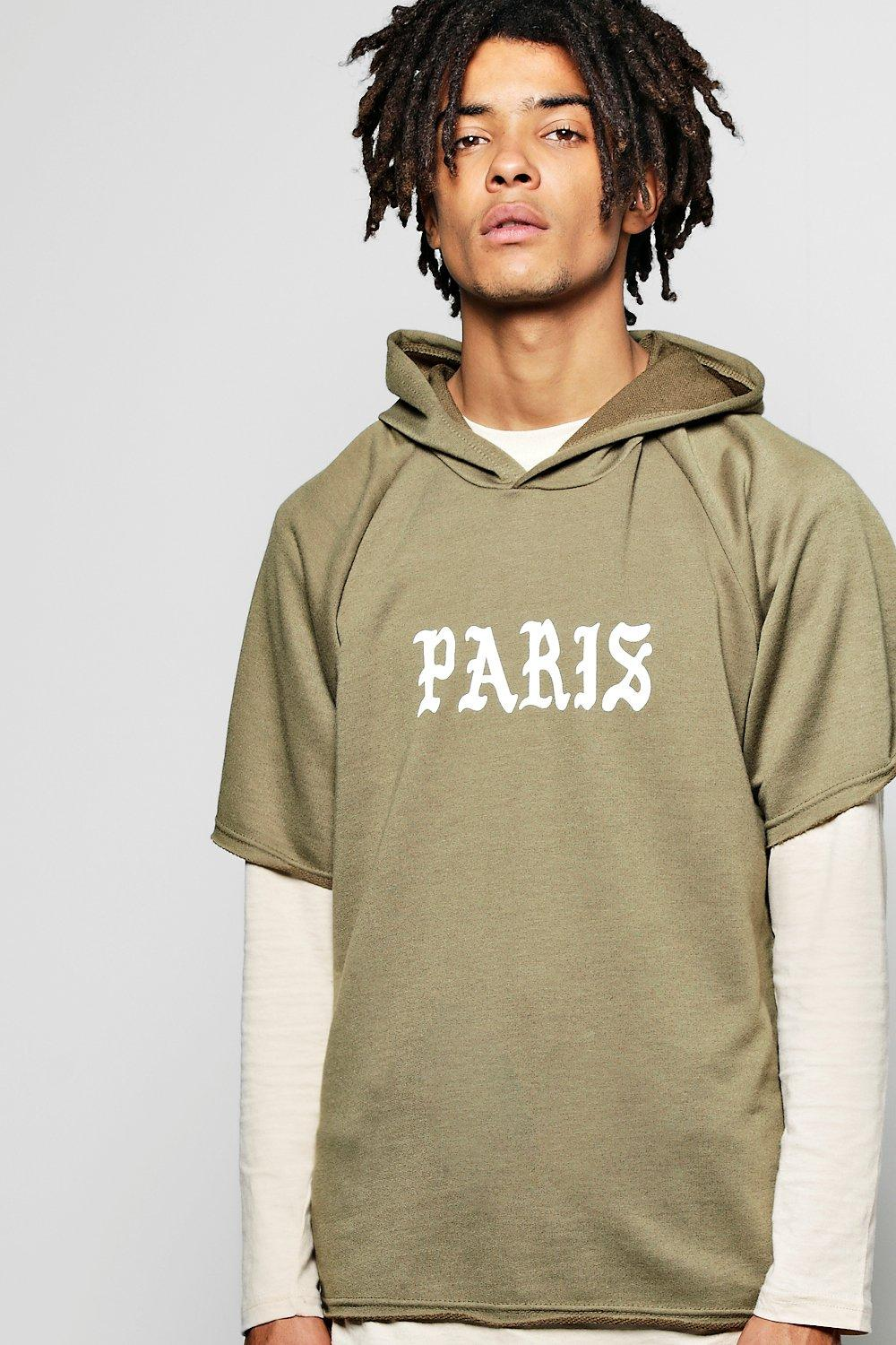 Short Sleeve Boxy Hoodie With Paris Prints