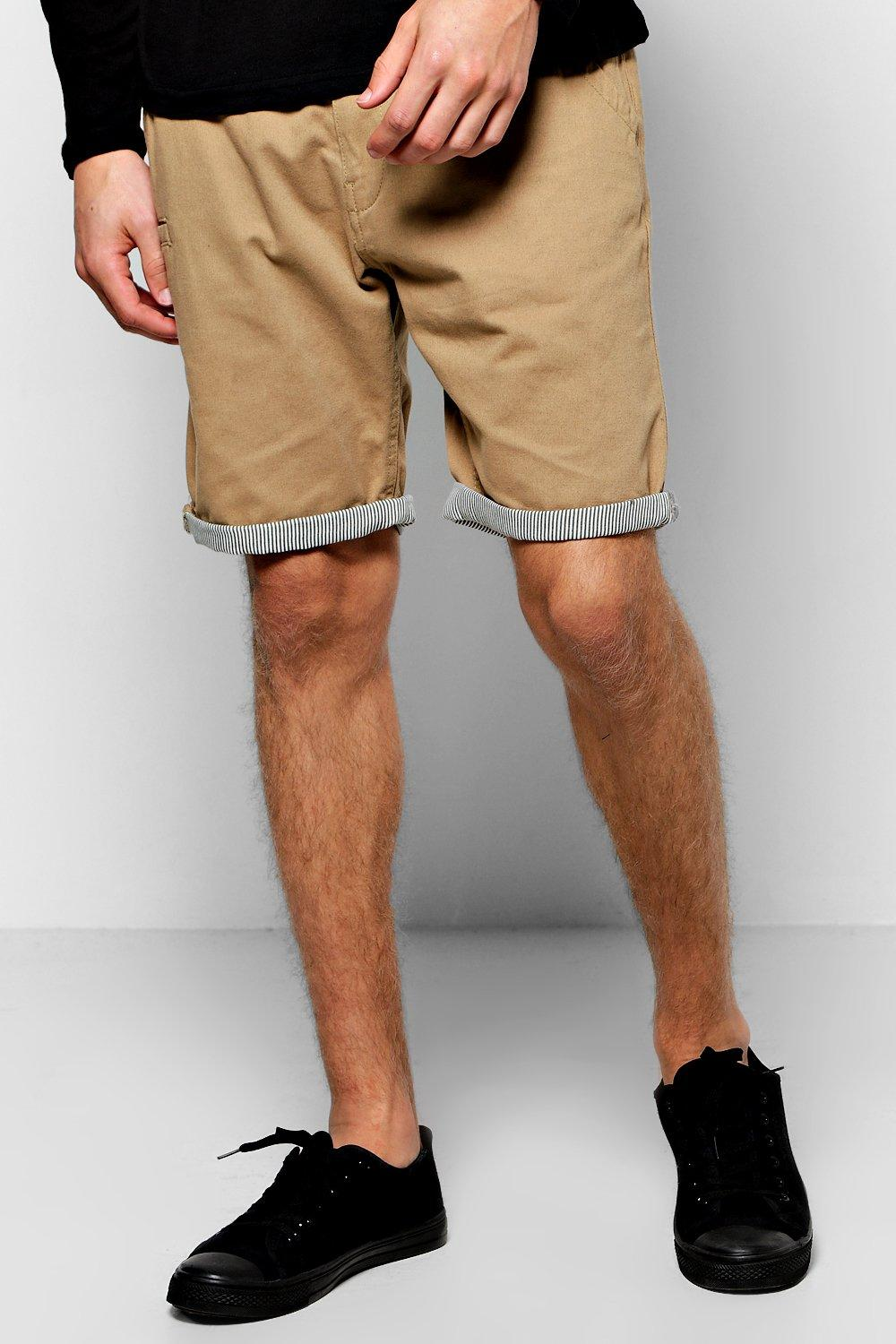 Chino Shorts With Stripe Turn Up