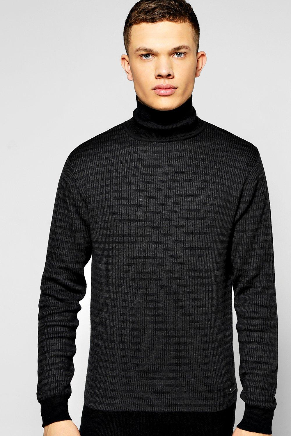 Ribbed Knitted Roll Neck