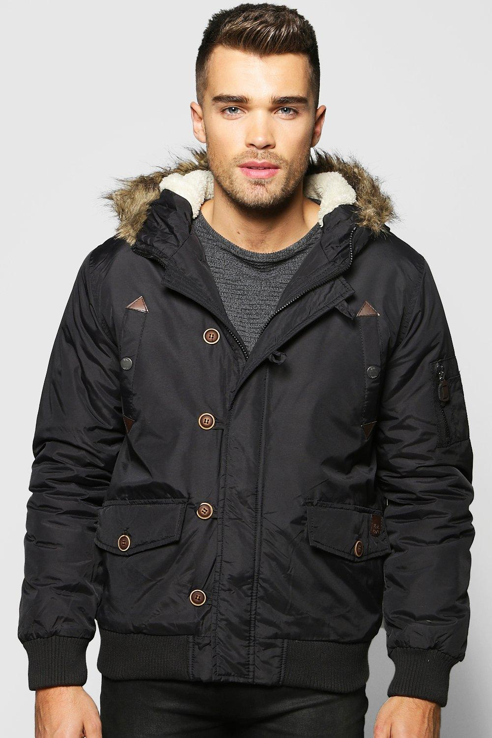 Faux Fur Hooded Parka Bomber