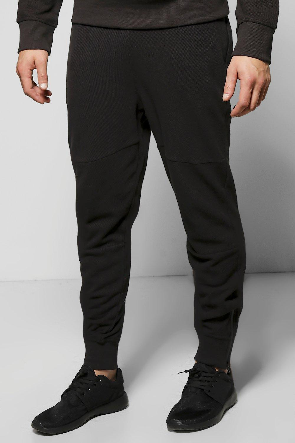 Skinny Fit Waffle Joggers with Zip Cuff