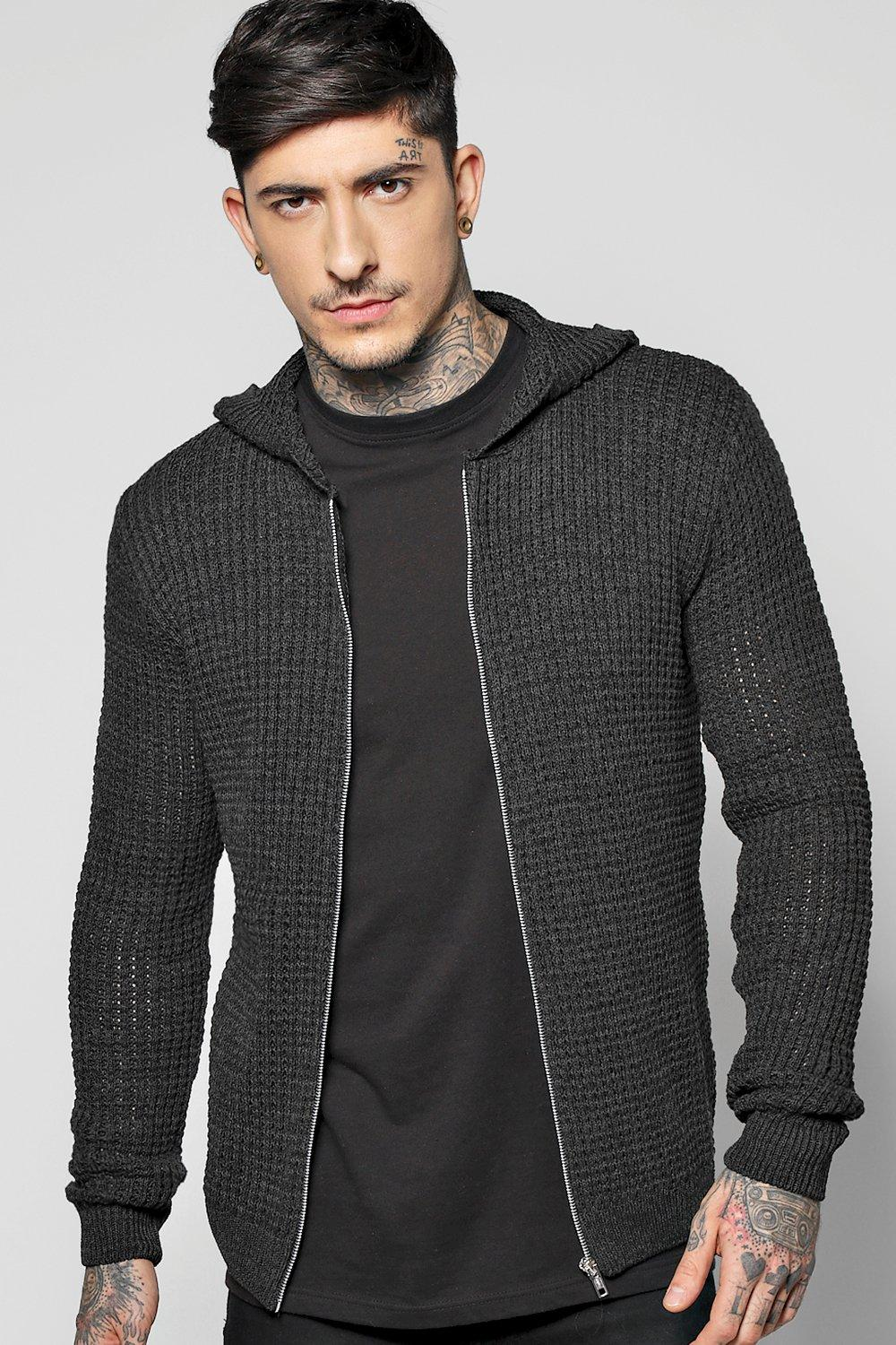 Zip Through Knitted Hoodie with Twisted Yarn