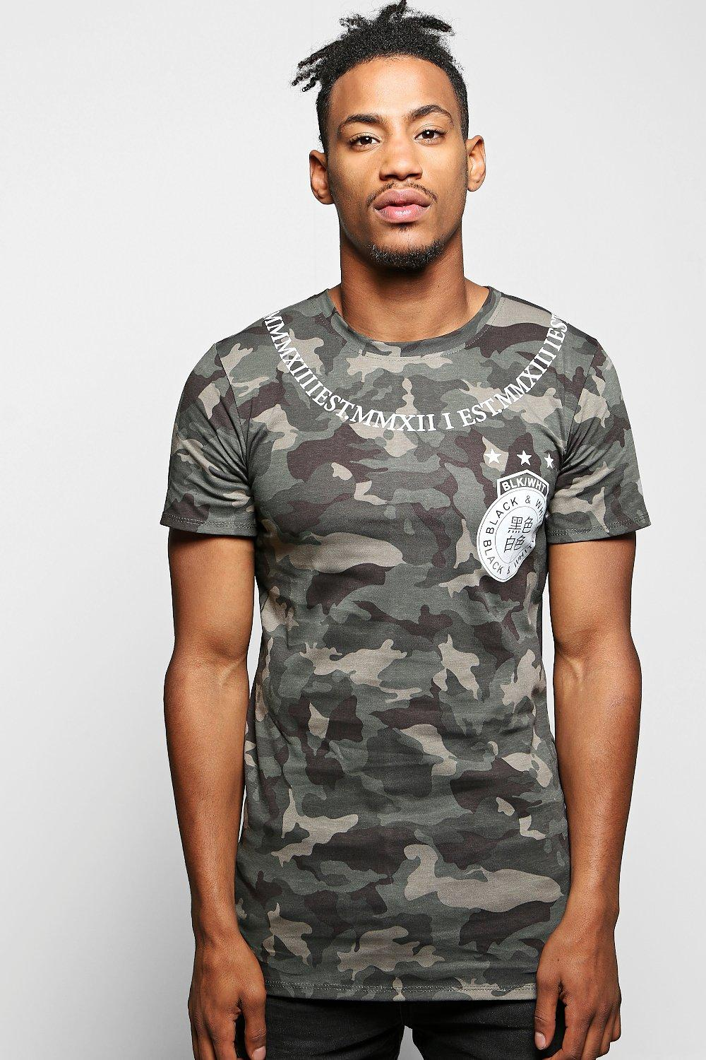 Longline Camo T-Shirt with Roman Numerals