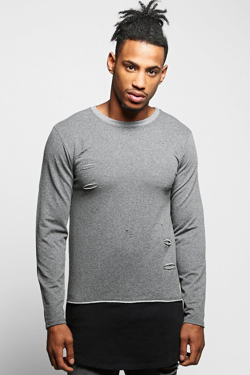 Muscle Fit Distressed Sweater with Extended Panel