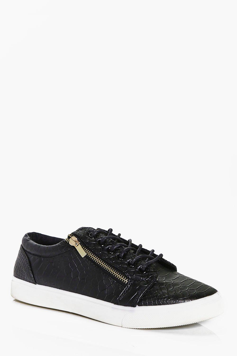 Croc PU Lace Up Trainer