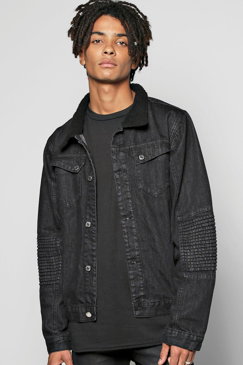 Borg Collar Denim Jacket with Biker Detailing