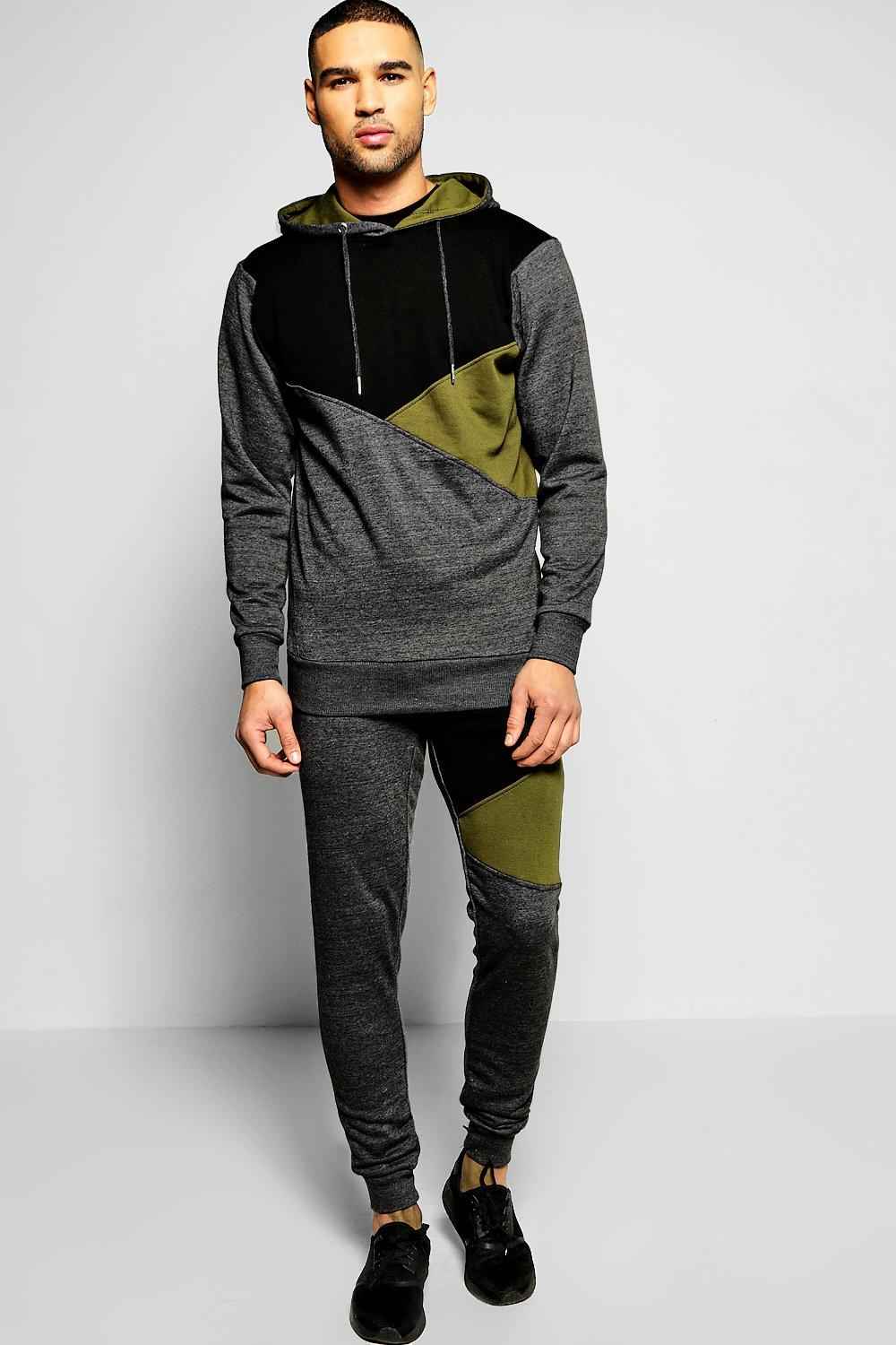 Skinny Fit Spliced Hooded Tracksuit