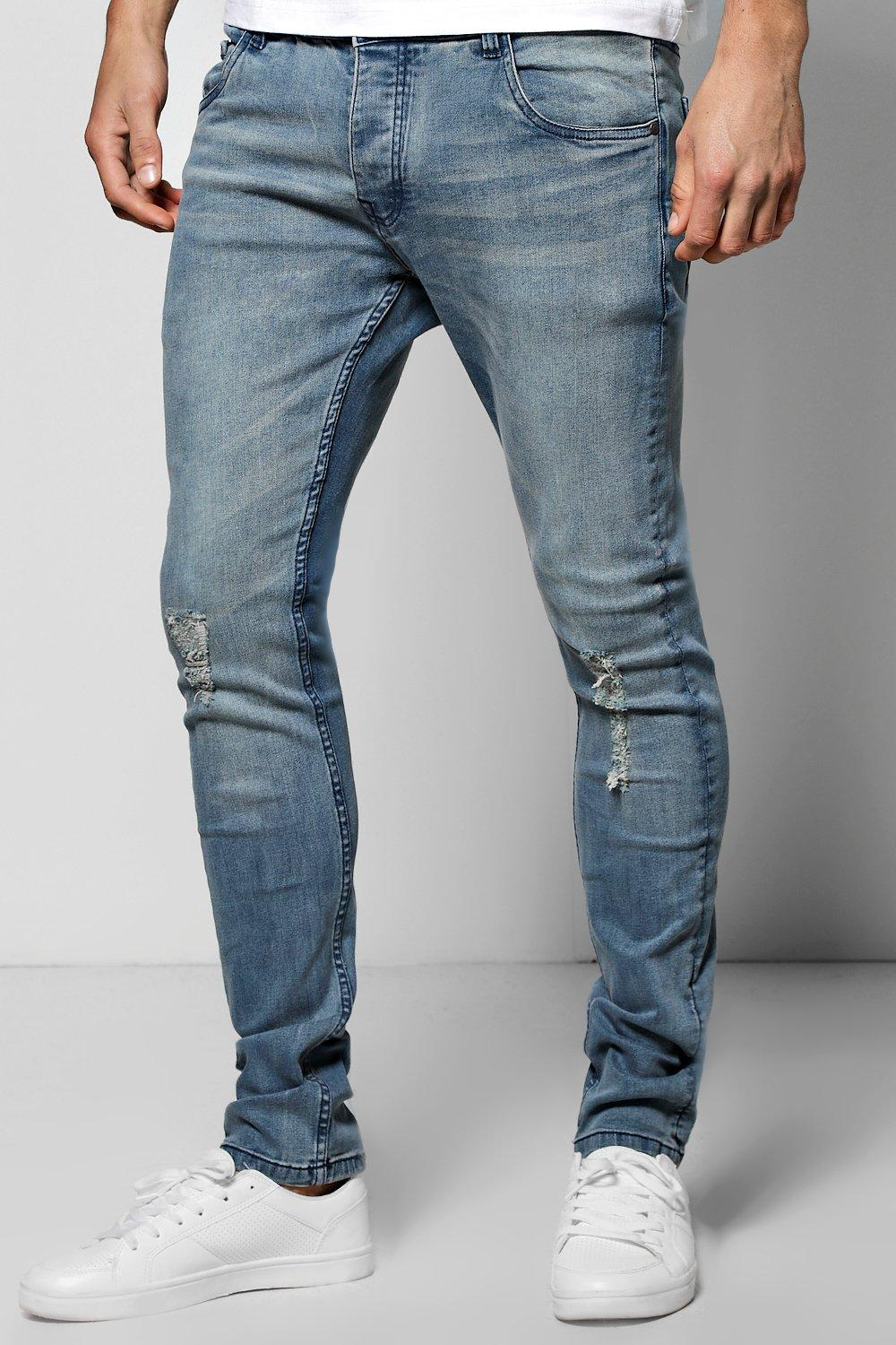 Stretch Skinny Mid Blue Jeans with Abrasions