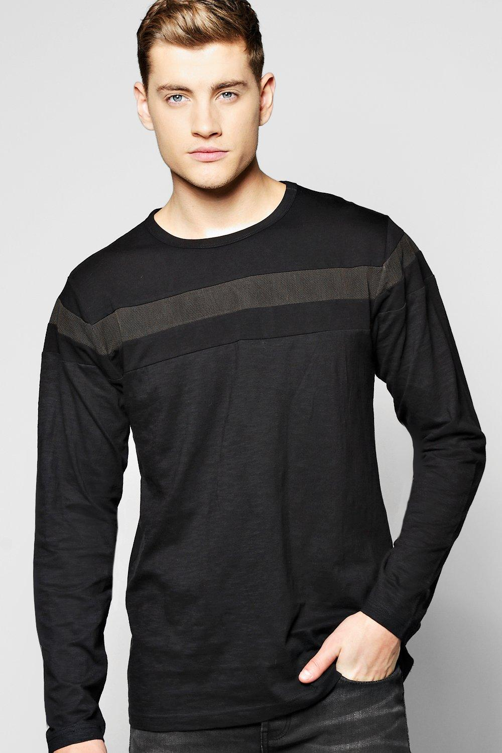 Long Sleeve Mesh Panel T-Shirt
