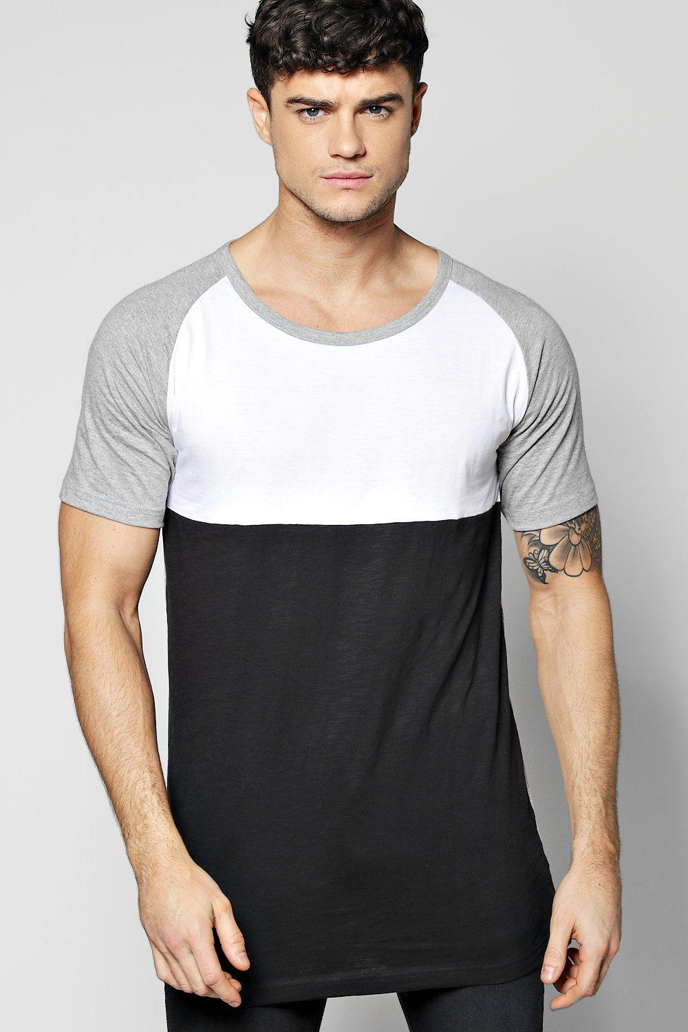 Long Line Raglan Colour Block T-Shirt
