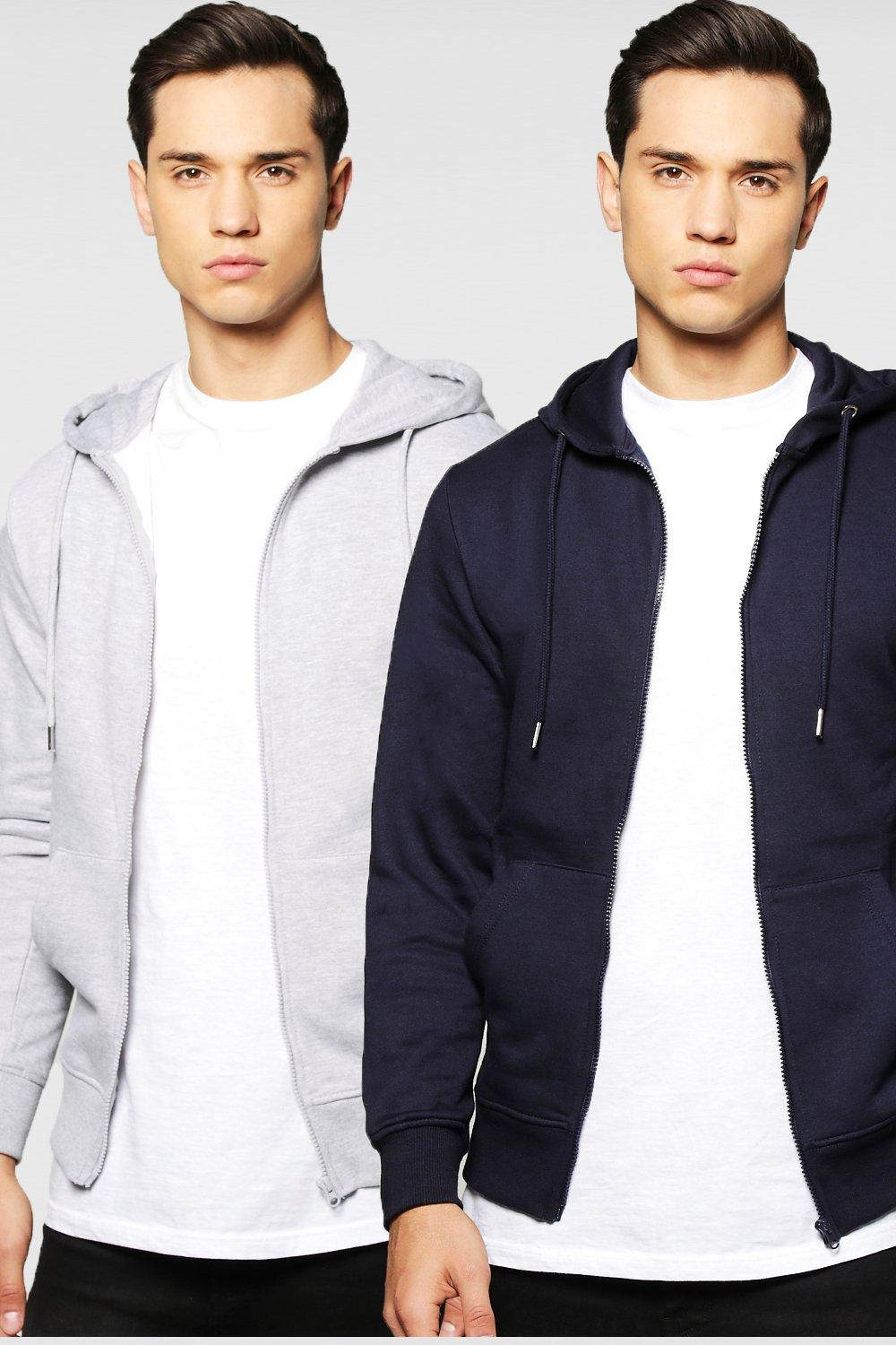 2 Pack Zip Through Hoody