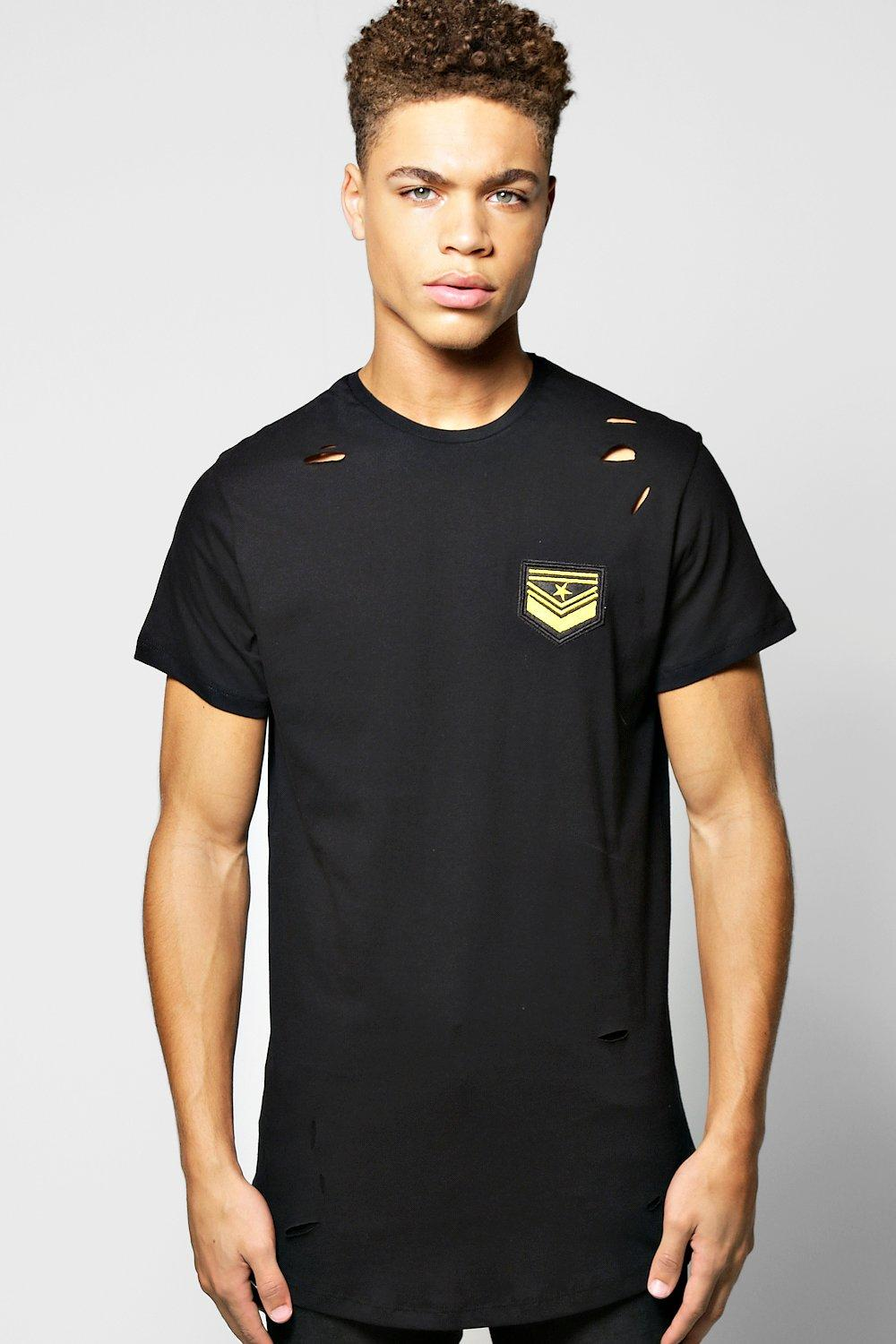 Longline Distressed Badge T Shirt