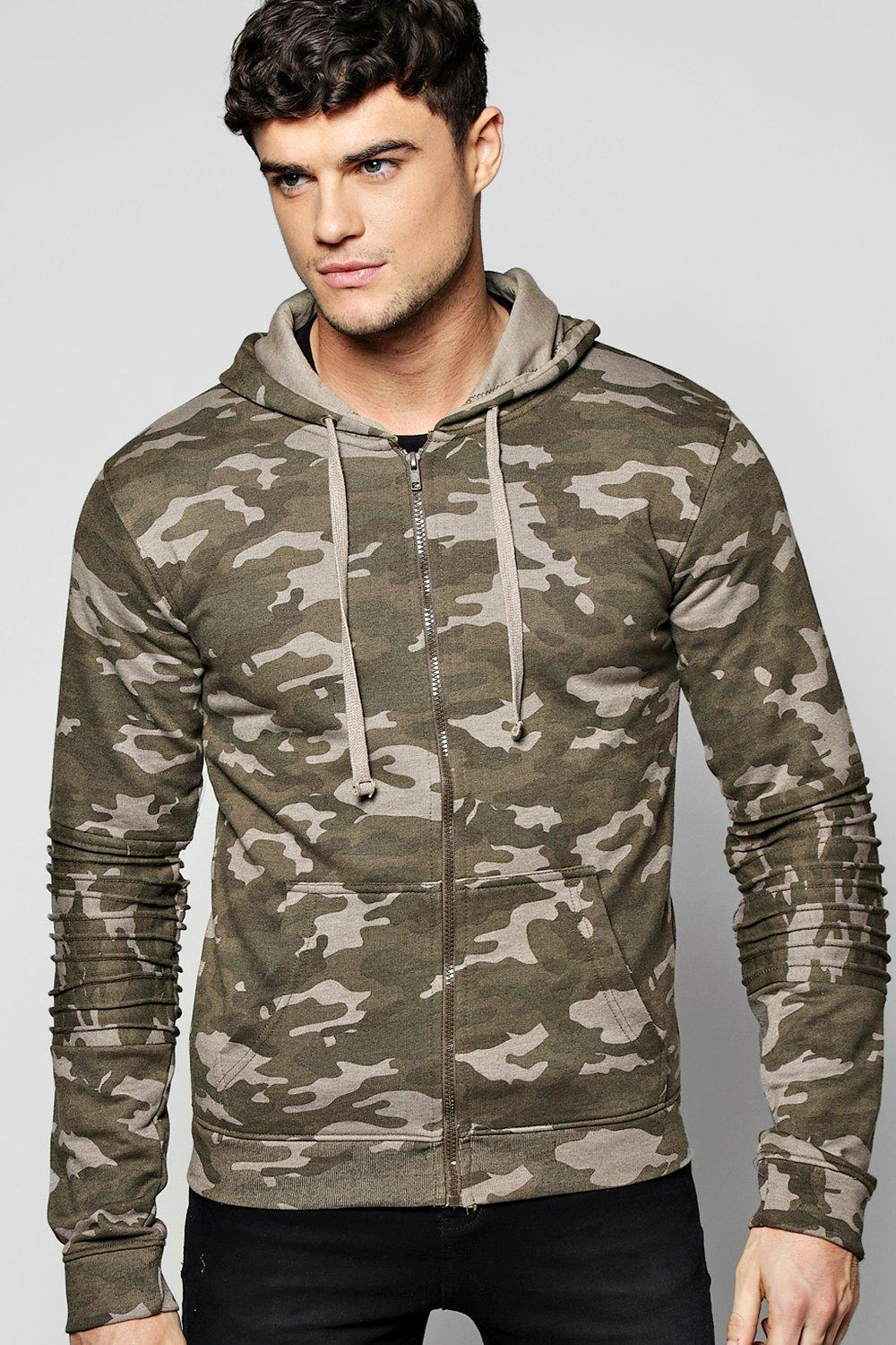 Camo Biker Zip Through Hoodie