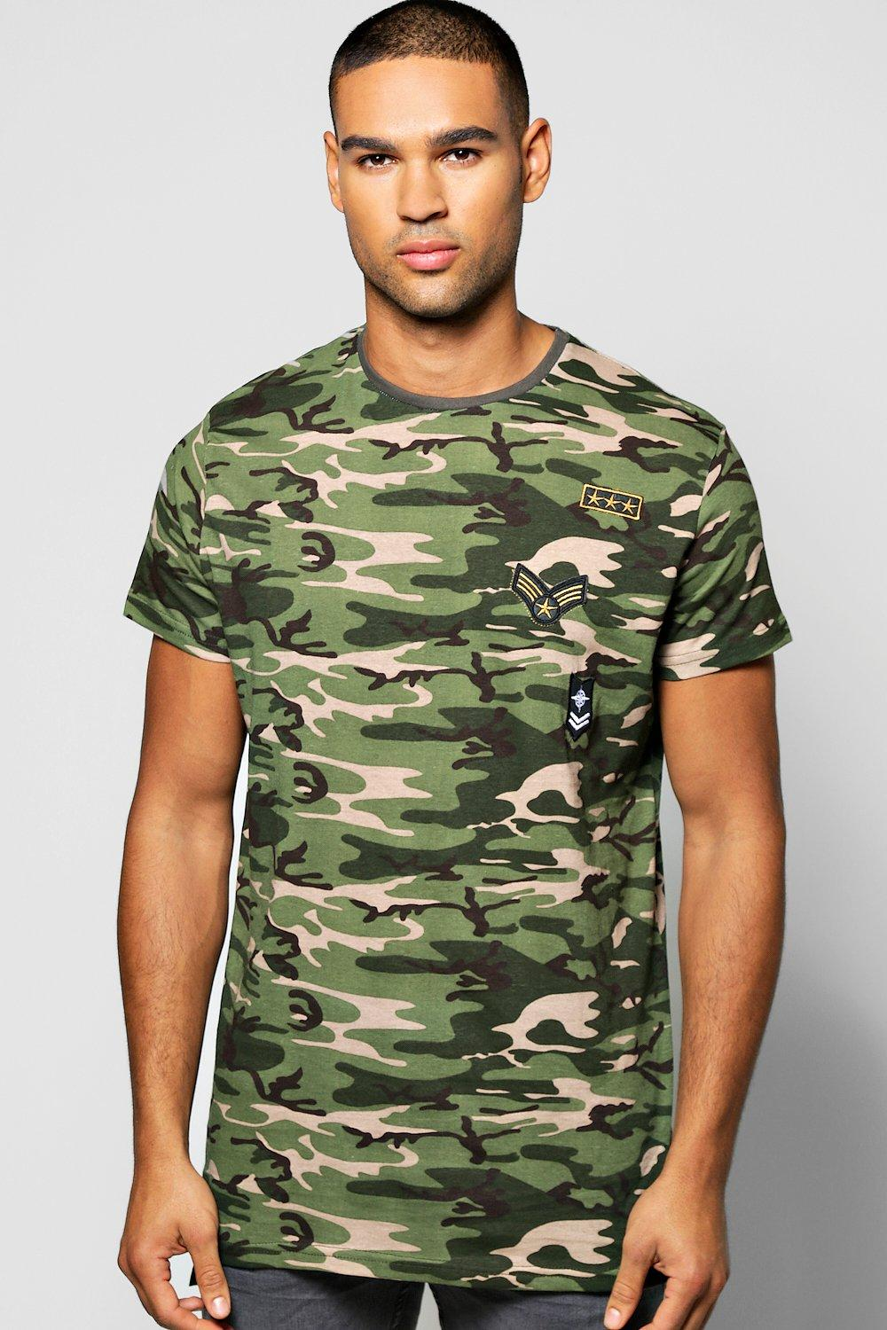 Oversized Camo Badge T Shirt